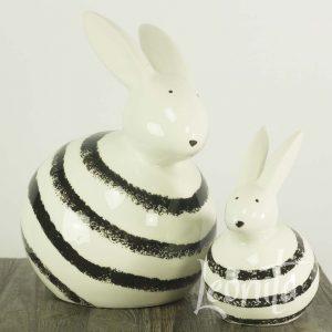Bonnie Konijn Pasen Gestreept Zwart/wit Decoratie