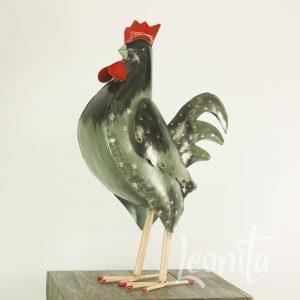Haan Decoratie Metaal Kippenhok Zwart Fier Parmantig