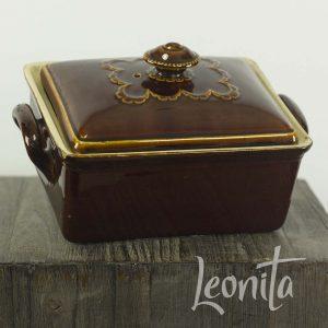Antiek Paté schaal Oud Koken Keuken Decoratie Bruin Beboterd