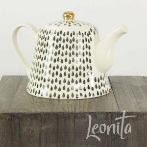 Theepot Zwart/wit Servies Keuken High Tea