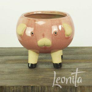 Bloempotje Roze Piggie Keramiek Decoratie