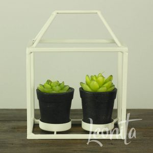 Metaal Huisje Cactus groen Kaars