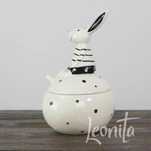 Bonbonschaaltje Servies Zwart/wit Haasje Pasen